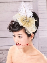 Gold Feather and Side Clamp Diamond For Headpieces XTH028FOR