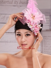 Headpices For Wedding Party With Imitation Pearls and Feather Decorate Tulle and Printing XTH078FOR