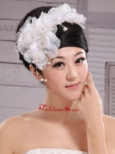 Headpiece White Pearls Large Flowers Embellishment XTH055FOR