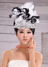 Headpieces Feather Net Yarn Fashion Hat Pearl With White and Black XTH046FOR