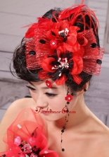 High Quality Little Hat Feather Tulle and Beading XTH022FOR