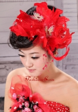 Hot Feather and Bow For Headpieces With Beading XTH020FOR
