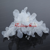 Imitation Pearls Organza Fascinators Pink Hair Flower ACCHP030FOR