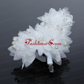 Imitation Pearls Tulle Outdoor Hair Ornament in Red ACCHP034FOR