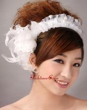 Imitation Pearls White Organza Womens Fascinators TH076FOR