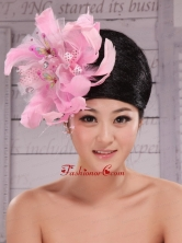 Imitation Pearls and Feather Decorate Tulle and Printing Fabric Headpices For Speciral Occasion Party  XTH079FOR