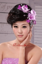 Lavender Beading and Hand Made Flowers Lovely Headpieces XTH040FOR