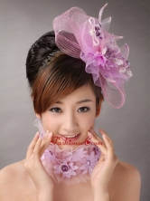 Lavender Headpices With Appliques Decorate On Tull For Prom TH059FOR