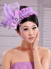 Lavender Headpiece For Party Pearl Feathers XTH042FOR