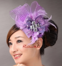 Lavender Headpieces White Pearl Crystal Satin Ribbon Flower  TH042FOR