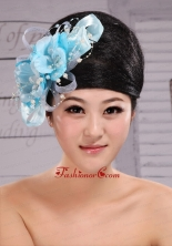 Light Blue Pearl Exclusive Taffeta and Organza Fascinator  XTH093FOR