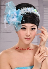 Light Blue Sweet Tulle Beading Feather Fascinator For Party XTH092FOR