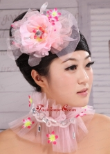 Light Pink Chiffon and Net Big Flowers With Rhinestones For Party  XTH072