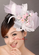 Light Pink Fashionable Tulle Feather Hand Made Flowers Beading Fascinators  TH022FOR