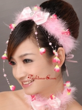 Lovely Pink Bowknot Feather Wedding Fascinators TH004FOR