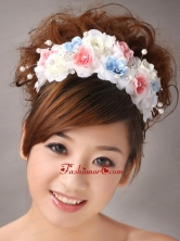 Muti color Headpiece With Hand Made Flowers and Pearl TH072FOR