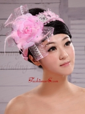 Palace Princess Korean Headdress Flower Net With Pearls and Feather XTH060FOR