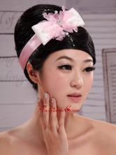 Pink Bowknot With Peals Satin Ribbon and Tulle Flowers New Arrival XTH061FOR