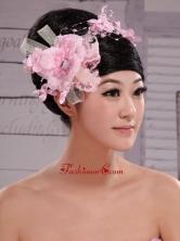 Pink Chiffon Bud Silk Pearls Net Flowers For Wedding  XTH067FOR