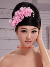 Pink Chiffon Flowers With Pearls For Party XTH068FOR