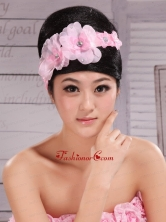 Pink Chiffon Hand Made Flowers and Beading For Headpiece XTH070FOR