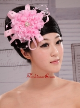Pink Chiffon Ribbon Big Flowers With Pearls For Wedding  XTH069FOR
