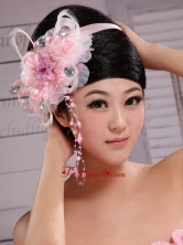 Pink Feather Rhinestones Satin Ribbon Flowers With Pearls For Bridal XTH062FOR