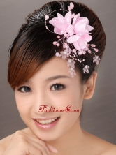 Pink Organza Imitation Pearls Special Occasion Fascinators TH016FOR