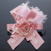 Pink Rhinestone Feather Hair Ornament for Imitation Pearls ACCHP098FOR