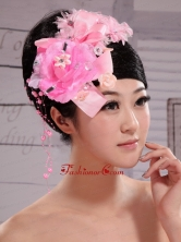 Pink Satin Ribbon Flowers With Beading For Wedding  XTH064FOR