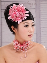 Pink Satin Ribbon and Net Flower With Pearls For Party  XTH071FOR