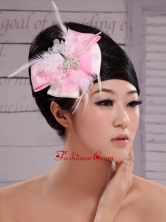 Pink and White Satin Feather With Pearls Flowers For Party  XTH066FOR