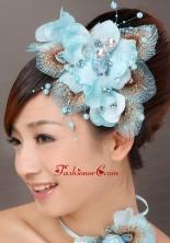 Popular Light Blue Taffeta Tulle Feather Beading Women s Fascinators TH024FOR