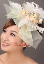Popular Light Yellow Tulle Feather Hand Made Flowers Fascinator TH021FOR