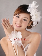 Popular White Feather Organza Flowers Fascinators and Wrist Corsage TH089FOR