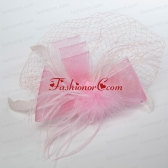 Pretty Pink Feather Tulle Net Yarn Briadl Hat ACCHP088FOR