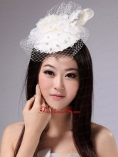 Pure White Fascinators With Net Beading For Party XTH002FOR