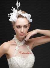 Pure White Flower Bridal Net With Feather Women s Fascinators UNION29T019FOR