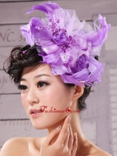 Purple Feathers Big Hat Wedding Headpieces XTH033FOR