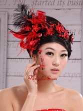 Red Best Sale Hat Flower Wedding Headpieces With Feather XTH044FOR