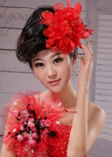 Red Best Sale Hat Flower Wedding Headpieces XTH019FOR