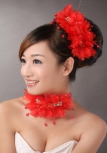 Red Chiffon Big Flowers With Beading For Wedding  TH055FOR