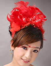 Red Chiffon Feather Big Flower With Beading For Bridal New Arrival TH047FOR