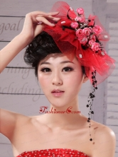 Red Fascinators Tulle Hand Made Flowers Outdoor and Special Occasion XTH017FOR