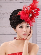 Red Feather Flower Special Occasion Fascinators XTH015FOR