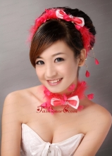 Red Feather and Bowknot Beading Hairband TH050FOR