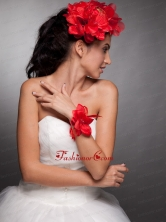 Red Hand Made Flowers Taffeta Headpieces and Wrist Corsage JDZH033FOR