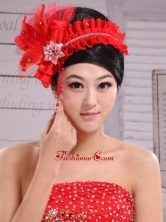 Red Headpiece For Bride Pearl Headdress Feathers XTH043FOR