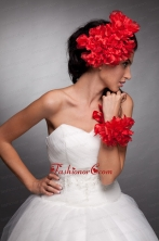 Red Taffeta Hand Made Flowers Headpieces and Wrist Corsage JDZH032FOR