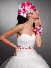 Red and White Organza Hand Made Flowers Beaded Headpieces and Wrist Corsage JDZH027FOR